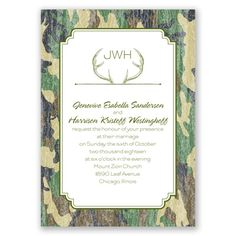 camouflage and deer antler wedding invitation. perfect for the couple that loves to hunt together!