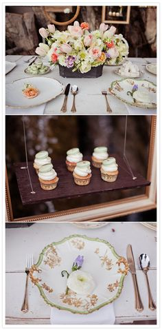 Vintage garden inspiration. I love the cupcakes with the macaron half on top.