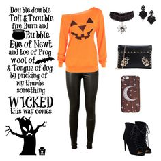 """So Completely Ready For Halloween"" by mundca ❤ liked on Polyvore featuring AG Adriano Goldschmied, JustFab and Tasha"