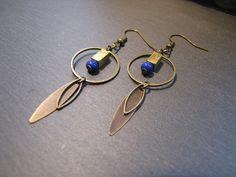 Boucles d'oreilles Apache - navettes, cercle, perle rectangle dorée - Bleu dur,  bronze  : Boucles d'oreille par les-bijoux-de-miss-poisson...