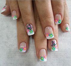 Frances blanco flores colores Hair And Nails, My Nails, Short Nails Art, Empanadas, Nail Tips, Margarita, Nail Designs, Nail Art, Skin Care Products