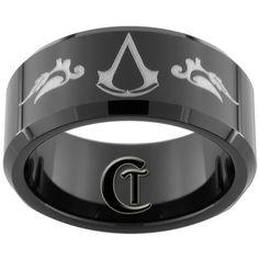 10mm Beveled Black Tungsten Carbide Assassin's Creed Laser Design Ring Sizes 5-15. $49.00, via Etsy.