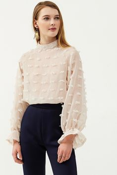 Fiona Mesh Blouse Discover the latest fashion trends online at storets.com  #meshblouse #fionablouse #ivoryblouse