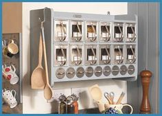 Spice cabinet from Ella's kitchen company Food Storage Cabinet, Spice Storage, Kitchen Storage, Grain Storage, Storage Cabinets, Storage Spaces, Cabinet Organizers, Storage Canisters, Spice Racks