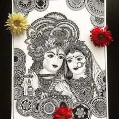 it is said the love story of Radha and Krishna spans 5 millennia - Love in its true form of devotion can make relationships timeless. Drawn with micropens and pencil shadings > This print of Radha Krishna is available in x 11 inches 11 x 17 Madhubani Art, Madhubani Painting, Krishna Painting, Krishna Art, Krishna Drawing, Radha Krishna Sketch, Lord Krishna, Doodle Art Drawing, Zentangle Drawings