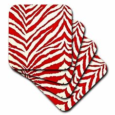 Lee Hiller Designs RAB Rockabilly  Rab Rockabilly Zebra Print Bright Red and White  set of 4 Ceramic Tile Coasters cst_46408_3 *** Click image for more details. (This is an affiliate link)