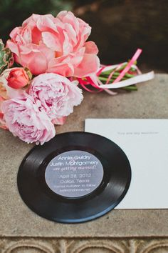 save the dates printed on old 45 records  Photography by taylorlordphotography.com