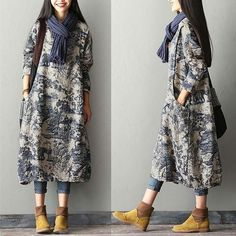 New Print Cotton Linen Dress Robe - Buykud