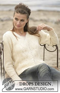 Ravelry: 96-2 Jacket with cable pattern in Silke-Tweed pattern by DROPS design -  free pattern