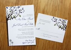 Olive Green, Deep Purple & Gray Love Birds in a Tree with Daisies Wedding Invitations