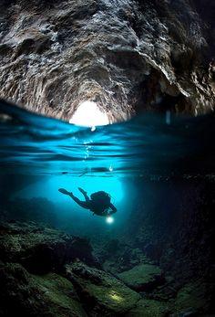 Cave diving in Agia Kyriaki, Trikeri, Magnisia, Greece by Nicholas Samaras