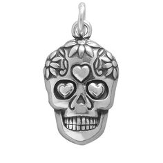 Mexican Day of the Dead Sugar Skull Charm also known as a calavera | Silver Star Charms