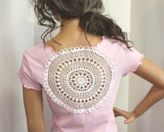 Check out these awesome upcycled t-shirt ideas! Put those old shirts to good use! #1 Cut out the back of a t-shirt and add a doily for a care-free summer look. Check out the Etsy shop this inspirat...