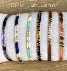 Miyuki bracelet with green, silver and matte black beads, minimalist beaded wax cord jewelry, double strand, gift under 20 Dainty Bracelets, Seed Bead Bracelets, Seed Bead Jewelry, Bead Jewellery, Handmade Bracelets, Diy Jewelry, Beaded Jewelry, Handmade Jewelry, Diy Bracelets To Sell