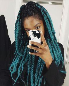 box braid hair black green ombre kenekalon braiding hair so cute @👑BlackDiamond👑