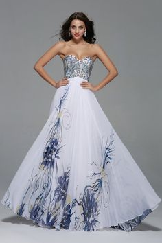 Straplesss Beading Floral Pattern A-line Long Chiffon Prom Dress