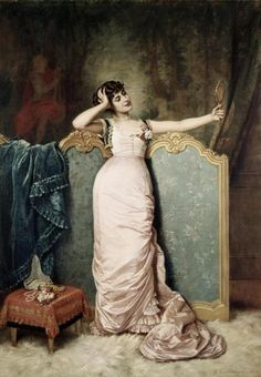 Auguste Toulmouche - Admiring Herself - art prints and posters