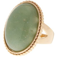 METAL & STONE Large Oval Dyed Green Aventurine Ring - Size 7 ($20) ❤ liked on Polyvore featuring jewelry, rings, green avnturine, metal jewelry, metal jewellery, stone jewelry, oval rings and aventurine jewelry