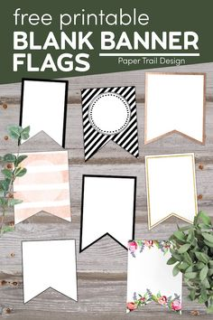 Print one of these free printable blank banner pennants and create your own custom banner. Free Printable Banner, Banner Template, Free Printables, Blank Banner, Diy Banner, First Birthday Parties, First Birthdays, Create A Banner, Paper Trail