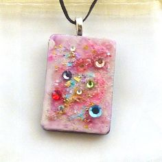 Pink Cotton Candy  Upcycled Domino Pendant Hand painted Swarovski crystals