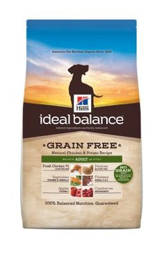 Hill's Ideal Balance Grain Free Chicken and Potato Recipe Adult Dog Dry Food Bag, 21-Pound Fresh chicken #1 provides lean protein to help keep slim and trim. Contains potatoes, which are naturally gluten free  for healthy digestion. Omega 3 & 6 fatty acids improve skin and coat, guaranteed or your money back. No Grain, no artificial colors, flavors or preservatives.  #Hill'sPetNutrition #PetProducts