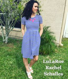 Beautiful blue and white striped Amelia dress!!   https://www.facebook.com/groups/rachelslularoevip/