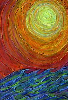 sun over waves... interesting idea to hot glue on canvas then paint over it.