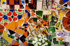 Barcelona, a great mix of colors, flavours and joy of living.  Mosaic Particular, Gaudi Parc Güell, Barcelona, Spain