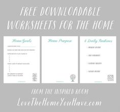 Free Downloadable Worksheets for the Home