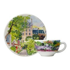 Gien - 'De Paris à Giverny' Collection - Coffee/Tea Cups/Saucers, s/2