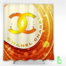Chanel Circular Orange Shower Curtain