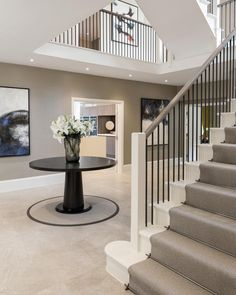 The striking open plan entrance hall for our Mulberry show home project. Entrance Hall Decor, Modern Entrance, House Entrance, Entrance Halls, Essex Homes, Hall Flooring, Flur Design, Hallway Inspiration, Hallway Designs