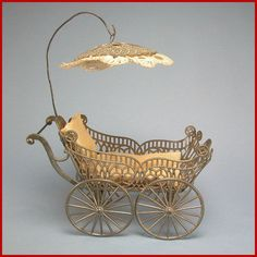 """Antique German Schweitzer Doll House Miniature Baby Carriage / Pram Late Victorian Large 1"""" Scale Dollhouse Accessory"""