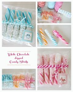 White Chocolate Dipped Candy Sticks Party Favor
