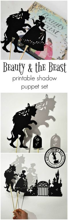 Inspired by the Beauty and the Beast fairy-tale, these shadow puppets will let the kids tell their version of the story. Printable silhouettes will work great for Beauty and the Beast party, lesson or craft! Source by kjmp and the beast Fairy Tale Crafts, Fairy Tales Unit, Shadow Theatre, Puppet Theatre, Beauty And The Beast Party, Quick Crafts, Shadow Puppets, Fun Activities For Kids, Summer Fun