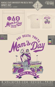 Phi Delta Theta Mom's Day Shirt | Fraternity Event | Greek Event #phideltatheta #phidelt Phi Delta Theta, Kansas State University, Dad Day, Fraternity, Greek, Dads, Mom, Shirts, Fathers