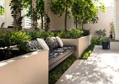 Large Concrete Planters with Bench