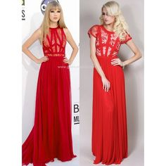 Taylor Red Lace maxi dress with Cap Sleeves in the style of Taylor... ($310) via Polyvore