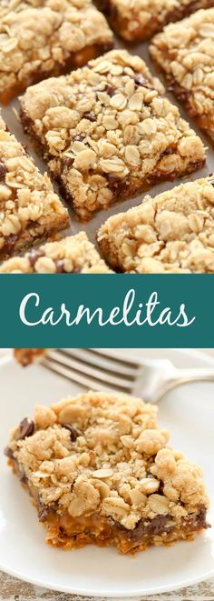 Soft oatmeal crumb bars stuffed with gooey caramel, chocolate chips, and chopped pecans. These Carmelitas use the same mixture for the crust and topping and are so easy to make!