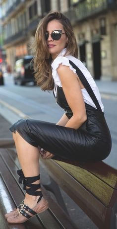 Ruffle top + leather jumpsuit