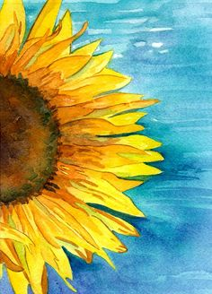 original watercolor sunflower 5x7