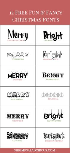 12 Free Christmas Fonts for Holiday Projects #Christmas #free #freebies