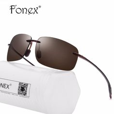 de70ca69150 FONEX 2018 High Quality Square TR90 Rimless Sunglasses Men Brand Designer  Light Flexible Sun Glasses for