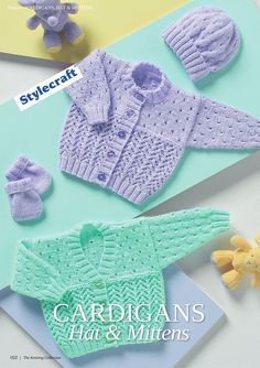 Lace Cardigan, Hat and Mittens Baby Set Knit.