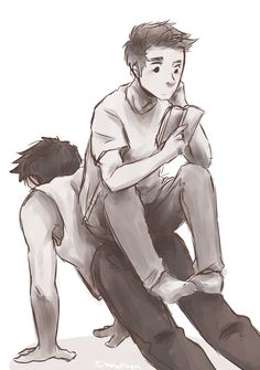 torakodragon: batman-to-my-catwoman answered: i have this image of Derek doing push-ups and Stiles sitting cross-legged on him eating chips or something lol sorry that's really specific