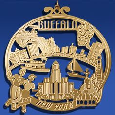 """Buffalo is known as """"The Queen City"""" as it is New York's second largest city.  It originally got the name of Buffalo from the creek that flows through the area while historically Buffalo was an important link in the Underground Railroad. This ornament is a wonderful keepsake to remember your visit to Buffalo New York and Niagara Falls!"""