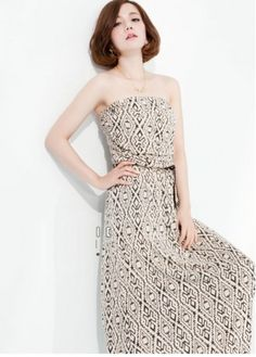 Prom Amazing Geometrical Print Strapless Maxi Dress With Belt with cheap wholesale price, buy Prom Amazing Geometrical Print Strapless Maxi Dress With Belt at wholesaleitonline.com !