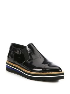 Vince - Alona Patent Leather Point-Toe Creeper Loafers