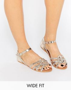 d356312c6 Image 1 of New Look Wide Fit Metallic Sandal Ankle Strap Sandals