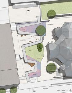 Schandorff Square / Østengen & Bergo AS schandorffsplass-masterplan. Architecture Mapping, Landscape Architecture Drawing, Landscape Drawings, Cool Landscapes, Park Landscape, Landscape Plans, Urban Landscape, Landscape Design, Contemporary Garden Design